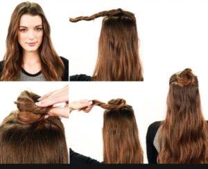 Как сделать пучок с распущенными волосами