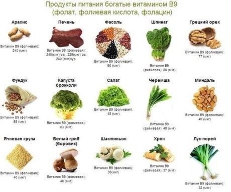 В каких продуктах содержится фолиевая кислота?