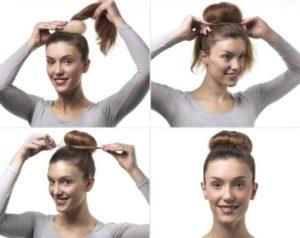 Пучок с помощью бублика на средние волосы: пошагово